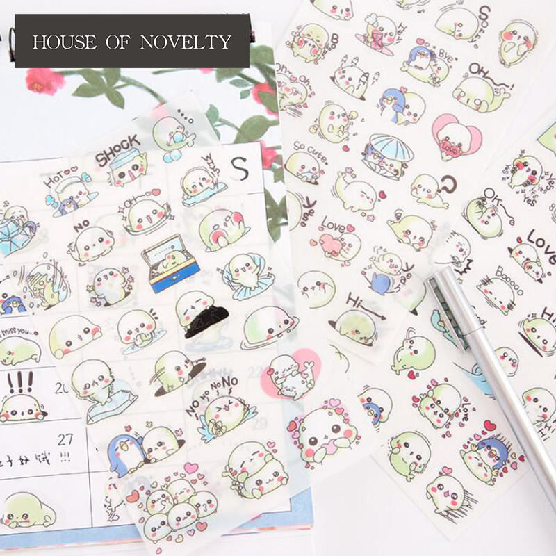 6 Pcs/pack Sea Lions Baby Decorative Stickers Adhesive Stickers DIY Decoration Diary Stationery Stickers Children Gift