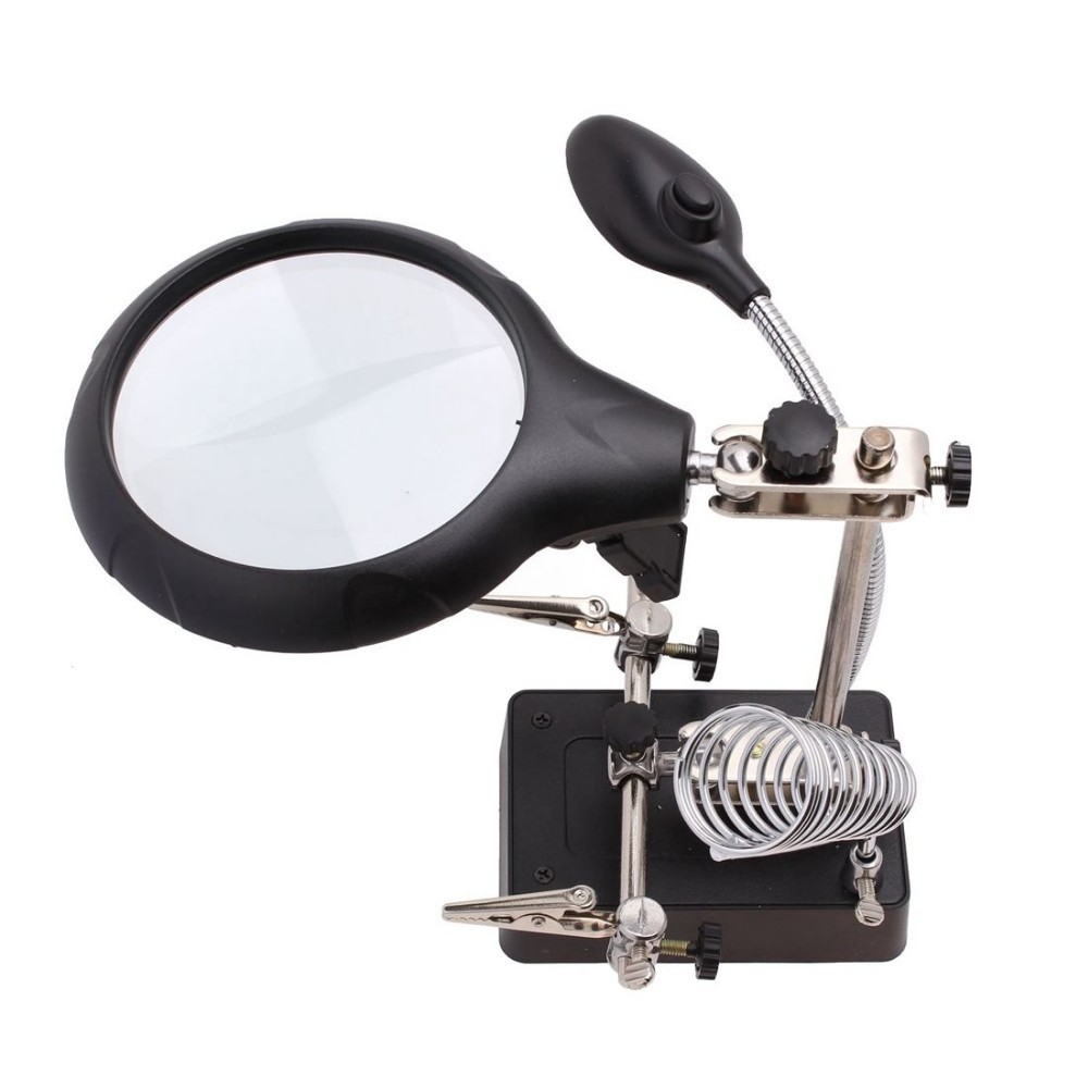 5LED Magnifying Lens 2 5X 7 5X 10x 3rd Hand Soldering Stand MG16129 C Clip  eBay