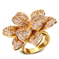 Hot Design Rose Shape Romantic Women Ring Anniversary Gift Top Quality Micro Pave Setting AAA Cubic Zirconia Gold Plated