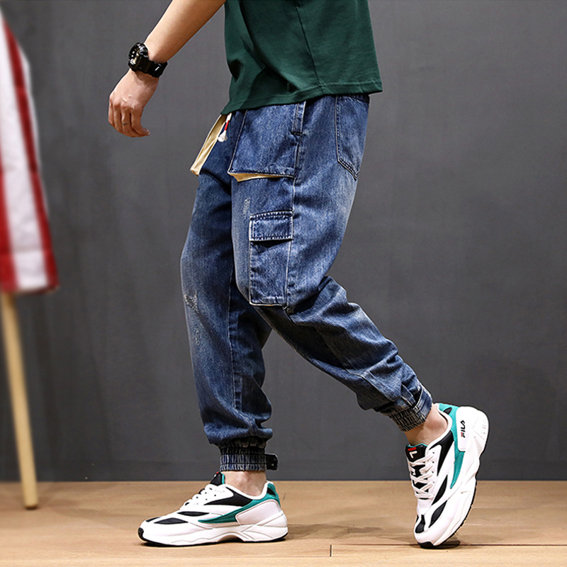 Fashion Streetwear Men Jeans Loose Fit Vintage Harem Pants Multi Pockets Denim Cargo Pants Slack Bottom Hip Hop Jogger Jeans Men