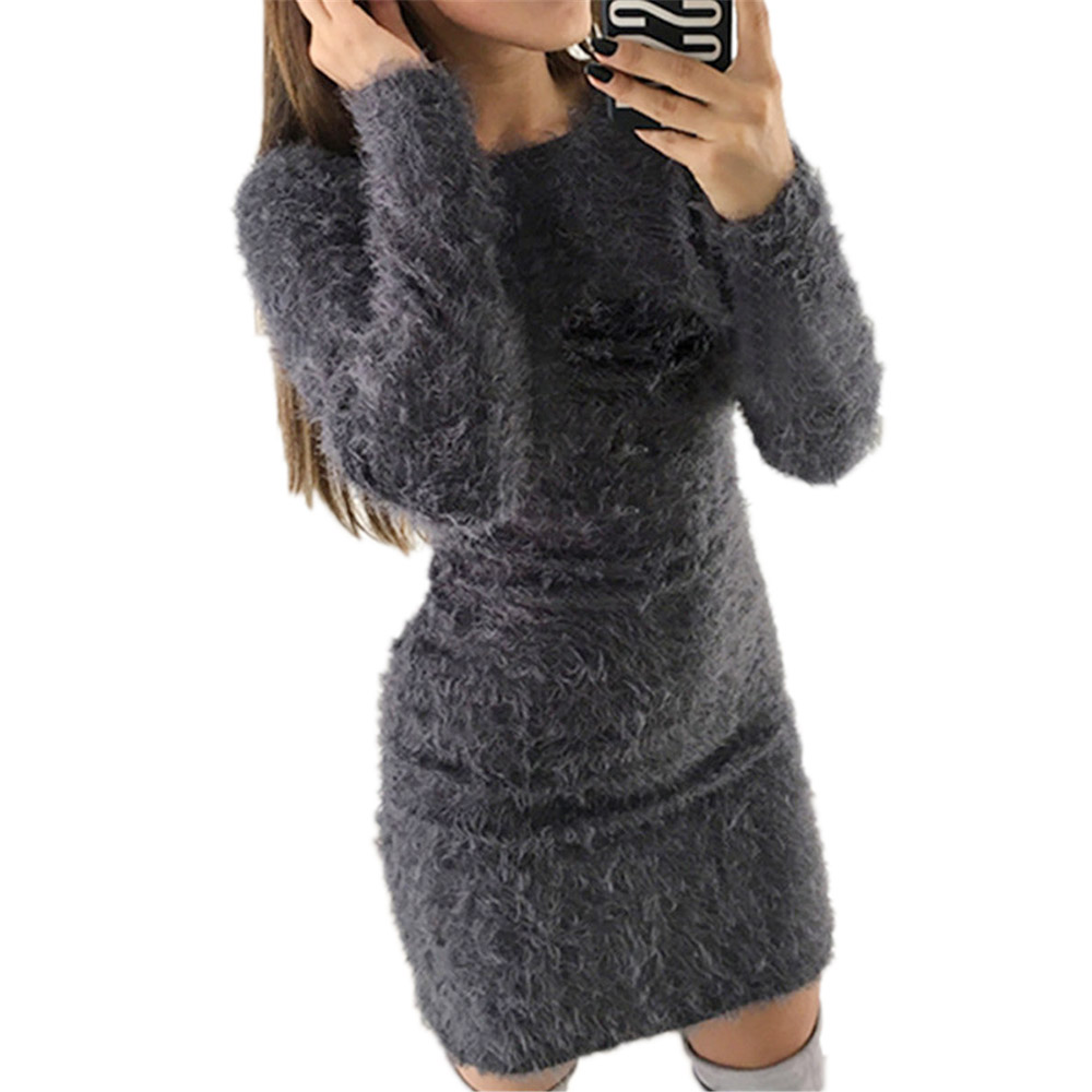 Winter Plush Sweater Dress Women Party Bodycon Christmas Black Clothing Sexy Mini Bandage Knitted Dress For Female
