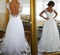 Alta Qualidade Elegante A Linha V Neck Cap Luva Varrer Train Vestido de Noiva Tulle Backless Apliques de Renda Vestidos de Noiva Barato