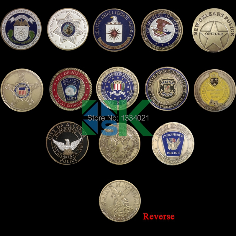 Novelty Colorful Coins 13 Models Saint Michael Us State