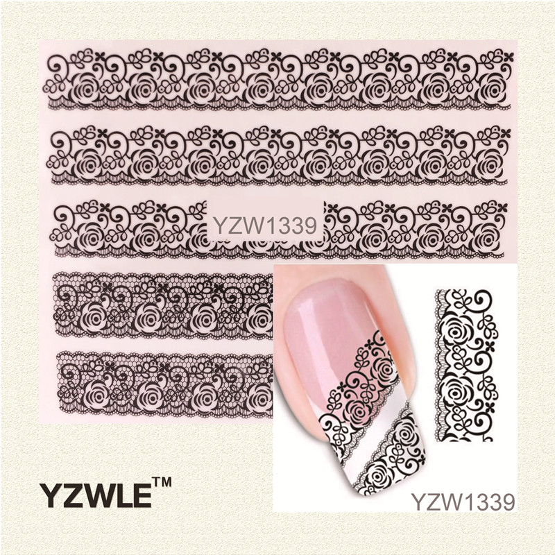 YZWLE 1 Sheet Black Lace Flowers Watermark Nail Sticker, Water Transfer Nail Decals For UV Gel Polish Nail Decoration Tools bk kno2 decoration drawing nail polish black 5ml