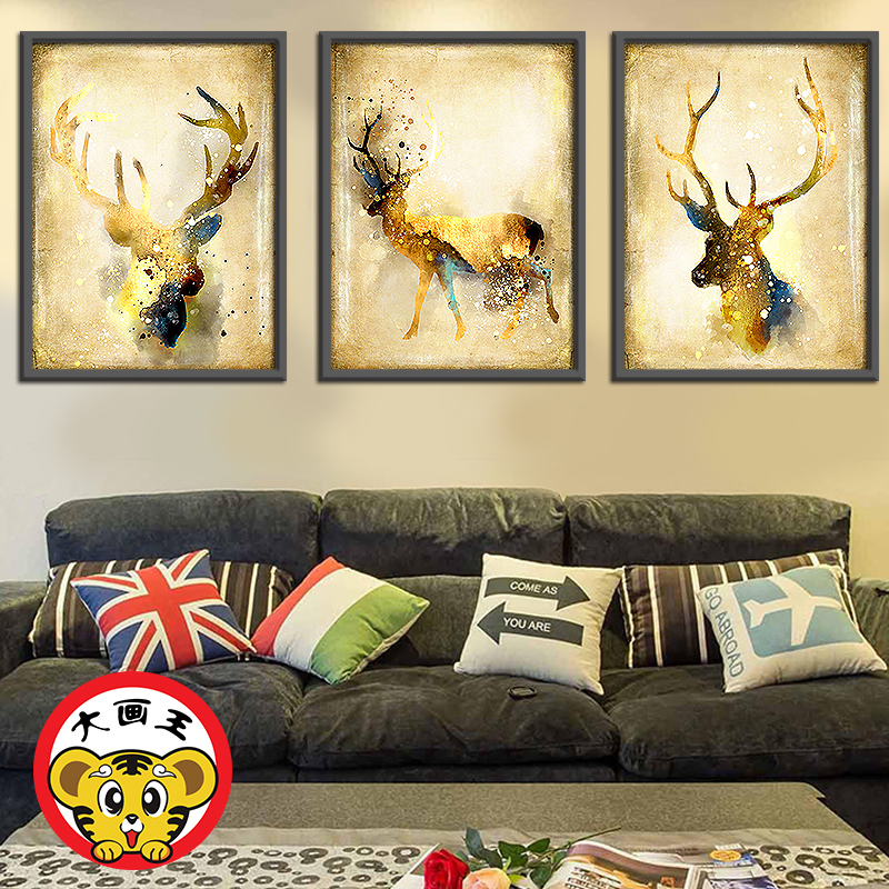 Deer\'s rights and money wealth hand painting and decoration painting ...