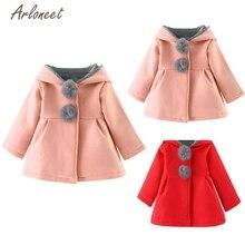Модные свитера для малышей, 2 цвета однотонное теплое пальто для маленьких девочек, куртка г. Милая плотная накидка с длинными рукавами и кроликом, Прямая поставка 22
