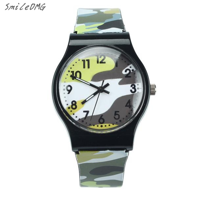 Hot Sale Children Watch Camouflage Silicone Strap Quartz Wristwatch Girls Boy High Quality Christmas Gift