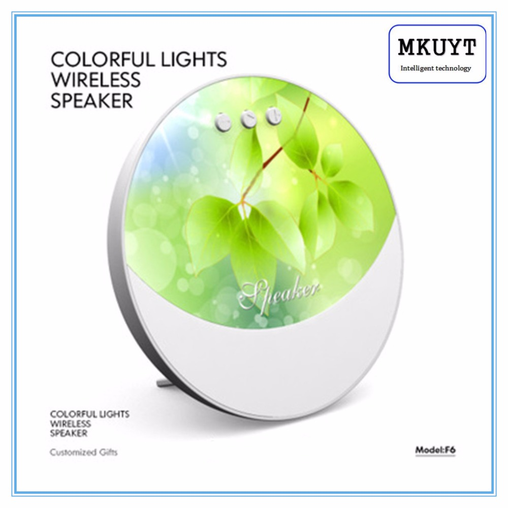 MKUYT F6 Wireless Bluetooth Speaker Mini Portable Outdoor 7 Colorful Lights with TF Card Hands-free Calls for Smartphones