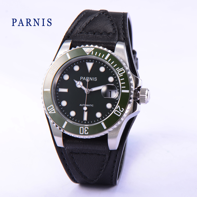 42mm Parnis Black Dial Green Bezel Sapphire Glass Automatic Men s Wristwatch date display