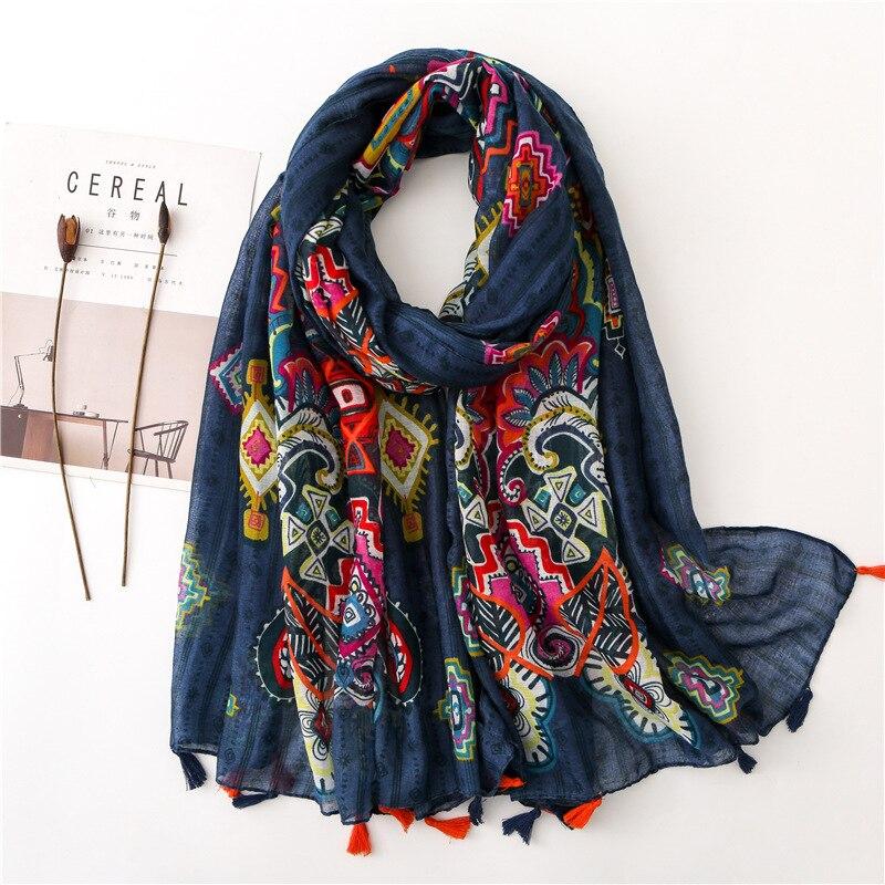 Feminino longo boêmio étnico impressão cachecol feminino outono inverno hippie boho cabeça longa cachecol sjaal muçulmano hijab snood