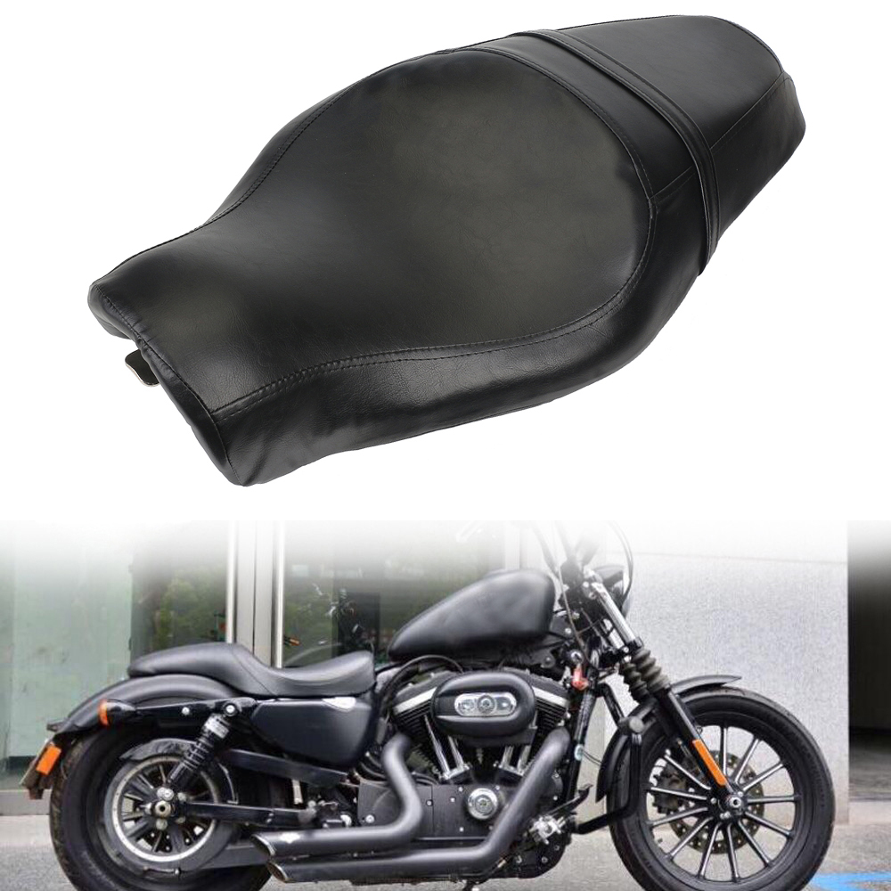 Neverland Black Motorcycle Driver Rear Passenger Tour Seat Cushions 2 up for Harley Sportster XL883 N XL1200 N Iron 48 72 D25 liislee 3 in1 special rear view camera wireless receiver mirror monitor diy back up parking system for peugeot 607 806 807