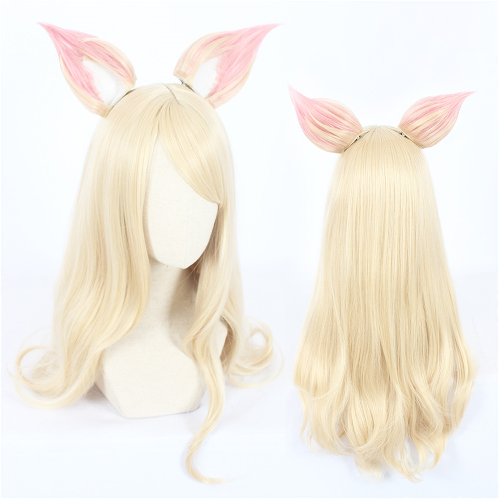 Game Character LOL K/DA Ahri Cosplay Wigs 90cm with ears ...