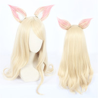 Game Character LOL K/DA Ahri Cosplay Wigs 90cm with ears KDA Heat Resistant Synthetic Hair Perucas Cosplay Wig
