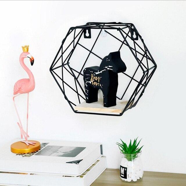 Hexagon Metal Storage Shelf Basket with Board Nordic Scandinavian Wall Mounted Storage Basket Organizer Home Office Decor