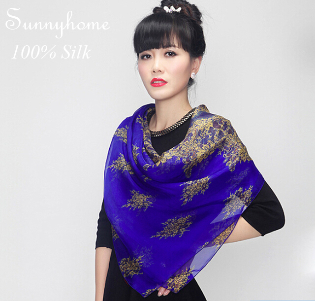 100% pure silk shemagh scarf fashion womens ladies blue printed floral scarves 2015 summer female cheap wholesale women's shawl