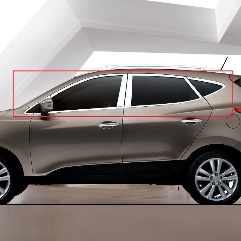 Fenêtre extérieure durable chrome modifié couvre protection voiture style moulures paillettes lumineuses 14 15 16 pour Hyundai IX35