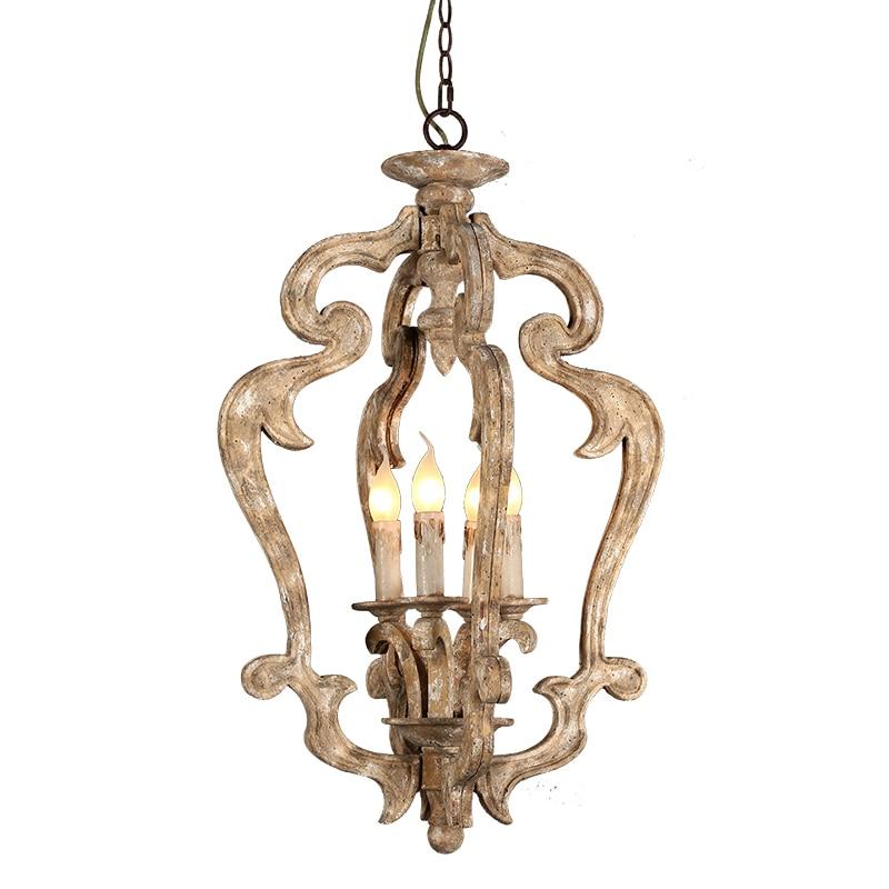 Здесь можно купить  American country antique wood chandelier retro solid wood carving lamp vintage loft children room bedroom dinning room light  Свет и освещение