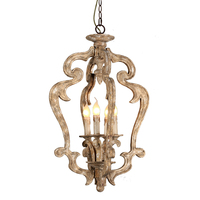 American country antique wood chandelier retro solid wood carving lamp vintage loft children room bedroom dinning room light