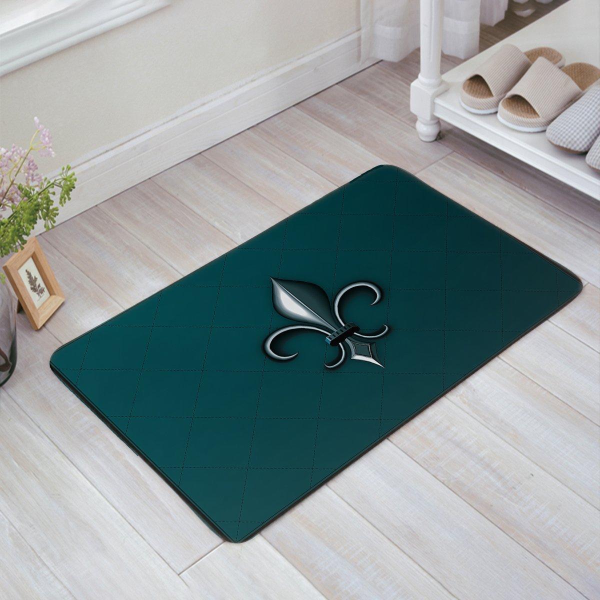 CHARMHOME Fleur De Lis Doormat Entrance Rug Door Mat Fabric Indoor And Outdoor Doormat Grip Rubber Backing, 23.6 x 15.7 Inch