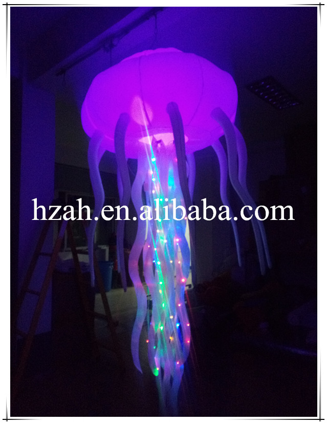 New colorful lighting inflatable jellyfish balloon for decoration ao058r 2m sky balloon new brand attrative pvc helium balloon custom advertising inflatable balloon