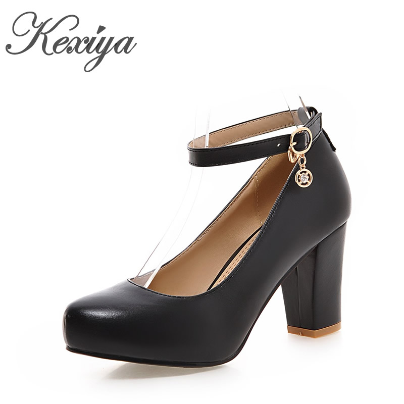 Spring/Autumn women shoes fashion Ankle Strap pumps big size 31-45 Round Toe Buckle Strap platform high heels zapatos mujer choudory fashion mixed colors chunky high heels woman pumps spring autumn buckle casual round toe shallow zapatos mujer tacon
