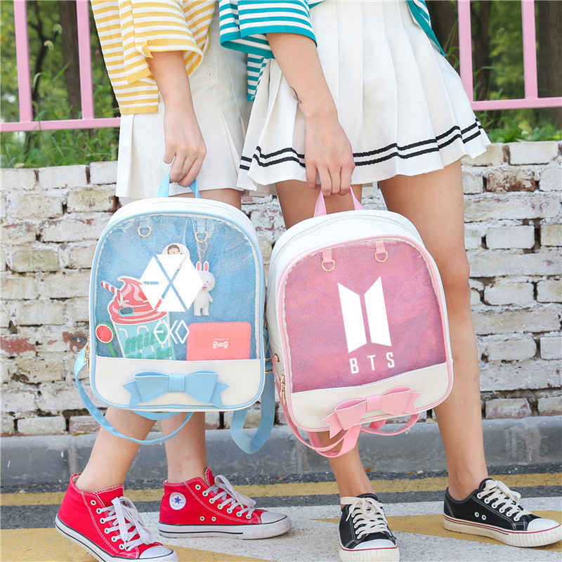 Bts Exo Blackpink Twice Got7 Monsta X Transparent Backpacks For Girls Female Kpop K Pop K-pop Travel Backpack Schoolbag Pack bts kpop pu kpop bangtan boys schoolbag women bookbag shoulder bts exo xxoo got7 b a p bigbang tourism student canvas