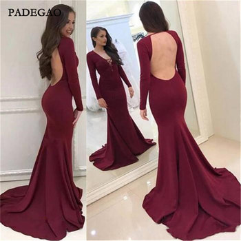 Sexy Wine Red Evening Dresses Mermaid Full Sleeves Evening Dress  Hollow Back Sweep Train Plus Size Custom Made