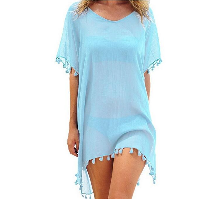 19 Colors Women Summer Beach Dress 2018 New Lady Tassel Ball Loose Bikini Cover Up Pure Swimwear Cover Up Bathing Suit One Size