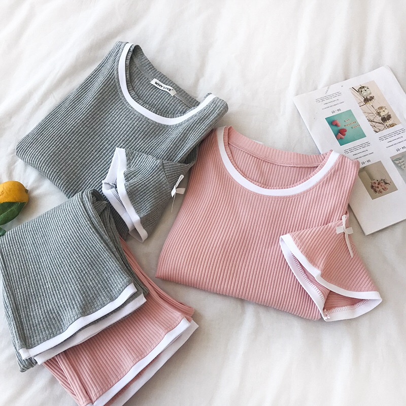 Women   Pajamas     Sets   Solid O-neck Short Sleeve Bow Pullover + Elastic Waist Long Pants Summer Korean Female Sweet Twinset 2pcs   Set