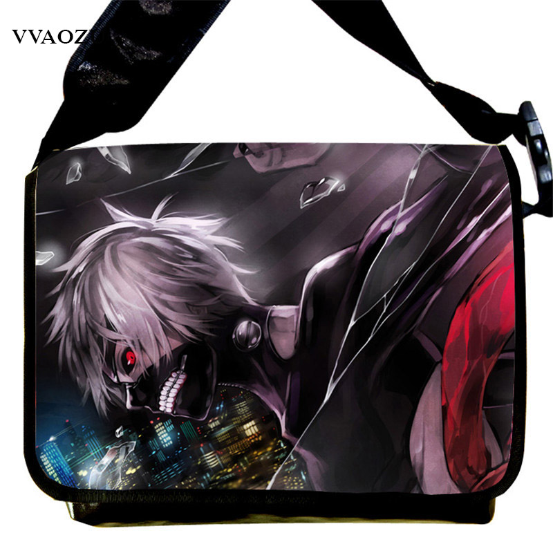 New Tokyo Ghoul Kaneki Ken Messenger Bag Anime School Bags for Teenagers Children Boys Grils 3D Cartoon Shoulder Bags anime tokyo ghoul ken kaneki travelling backpack school student shoulder bag gift back to school