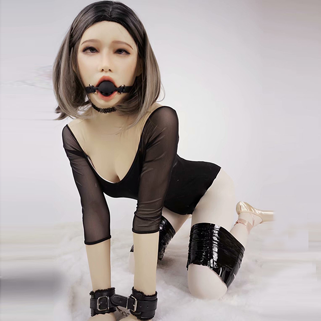 (Poppy)NEW!! DMS Handmade Soft Material Silicone Full Head Female Crossdress Cosplay DMS Open Mouth Mask With Ball Gag