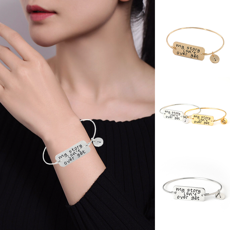 Hot Chic Alloy Women Lady Letter My Story Isn't Over Yet Carve Bangles Bracelet Gift image