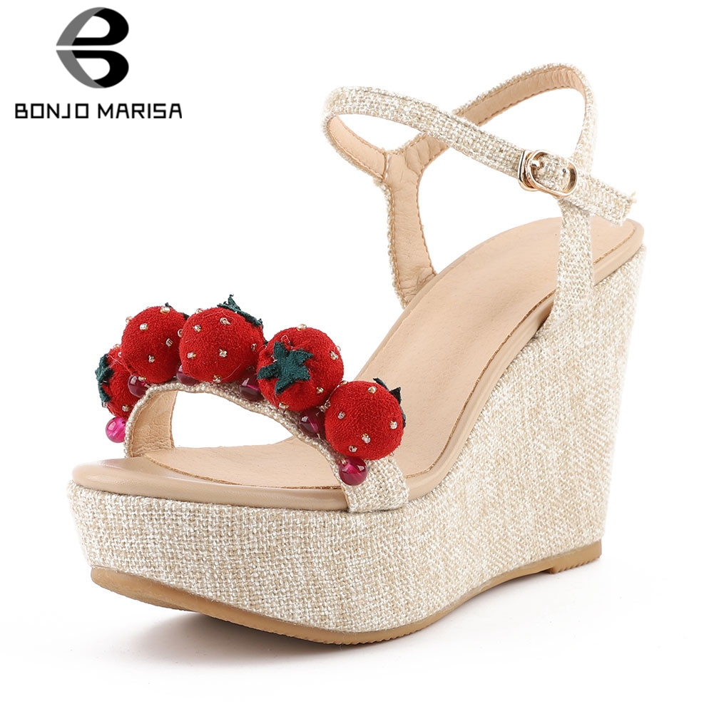 BONJOMARISA New Big Size 33-40 Sweet Strawberry Ladies Wedges High Heels Shoes Woman Casual Party Sexy Summer Sandals 2019BONJOMARISA New Big Size 33-40 Sweet Strawberry Ladies Wedges High Heels Shoes Woman Casual Party Sexy Summer Sandals 2019