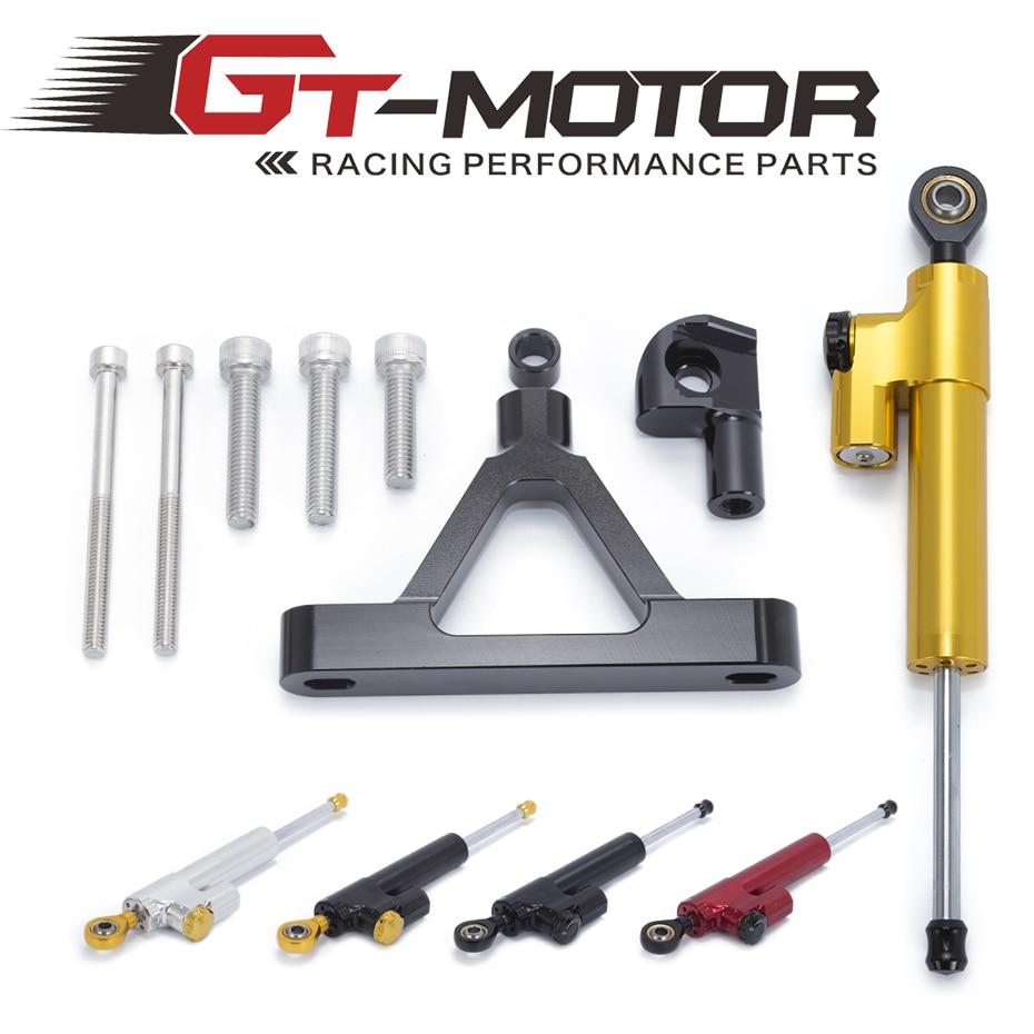 GT Motor -CNC Steering Damper Stabilizer with Bracket Safty Control Mounting Kit for Kawasaki ZX-6R 2007 2008 cnc aluminium steering stabilizer damper mounting bracket for suzuki gsxr1000 gsxr 1000 k7 2007 2008