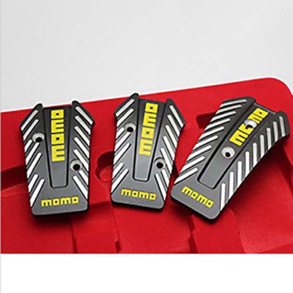 YSY 1set For MOMO Car Racing Pedals Universal Aluminum Manual Brake Pedal Foot Pedal Non Slip Black Sport Pedals brand new 4pcs aluminium non slip foot rest fuel gas brake pedal cover for audi q5 mt 2010 2016