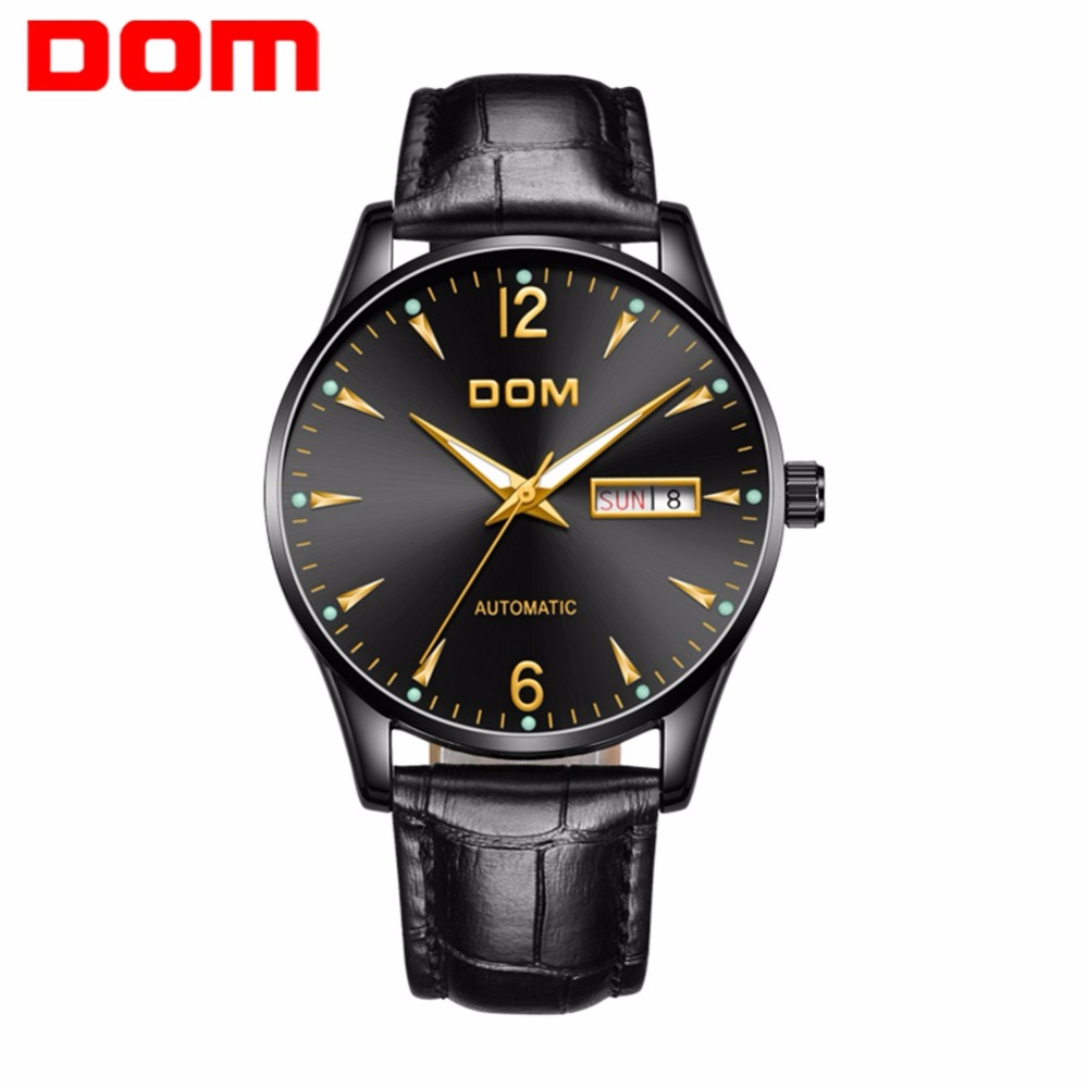 DOM Top Brand Luxury Mechanical Automatic Mens Watches Leather Strap Casual Fashion Waterproof Business Watch Men M-89BL-1M2