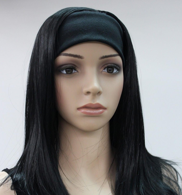 Fashion Black Medium long Straight women Daily 3/4 wig with headband E-TLG039