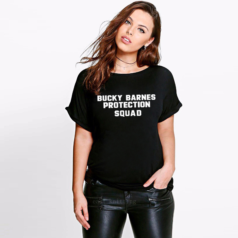 Bucky Barnes Protection Squad Print Summer Women T shirt O neck Casual Letters Tops|T-Shirts| |  - AliExpress
