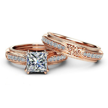 ZORCVENS New High Quality Rose Gold Color Hollow Vintage Ring Set AAA Square Cubic Zirconia Ring 1