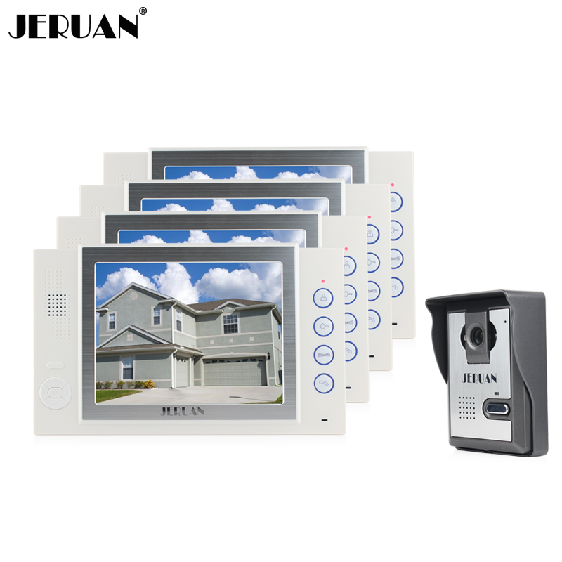JERUAN 8 inch TFT LCD Screen video door phone intercom system video doorphone recording 700TVL COMS Camera free shipping brand new 7 inch color screen video doorphone sperakerphone intercom system 1 monitor 700tvl coms camera free shipping