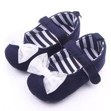 Мягкой подошвой красивые с бантом — узел темно-синий девушка новорожденный обувь 0 — 12 м