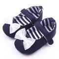 Suela suave hermoso arco nudo azul marino zapatos del bebé recién nacido 0 - 12 M