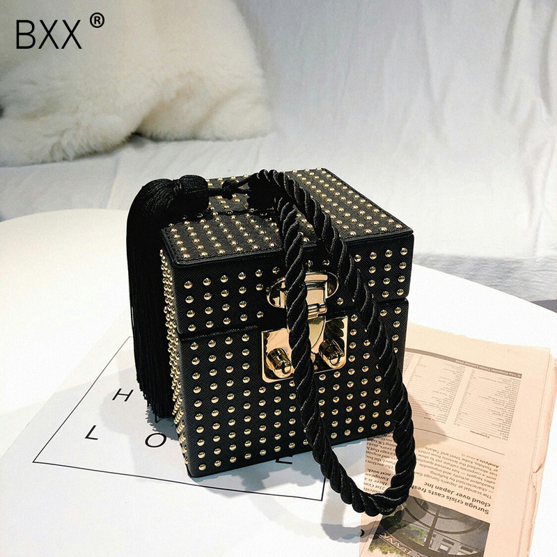BXX 2019 Fashion Women s Personality Single Strap Rivet Tassel Bag Female PU Leather Square