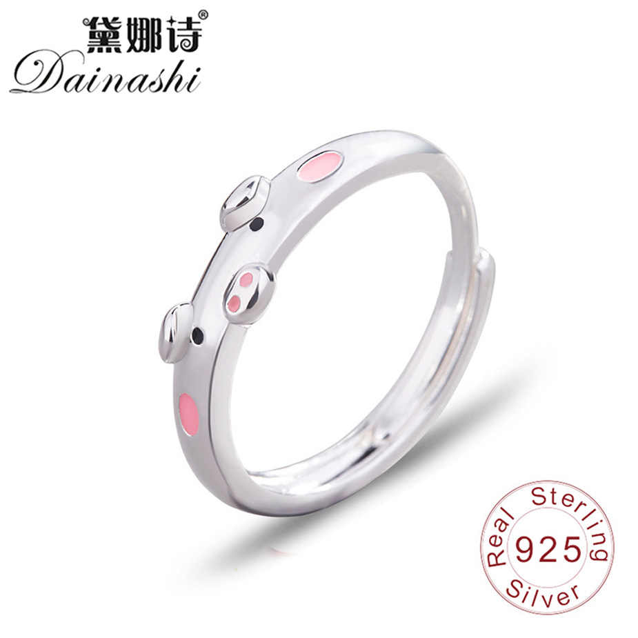 Dainashi 絶妙なかわいい豚 925 シルバーリング赤/ピンク滴のり女の子指輪結婚式かわいいエレガントな女性ファッションジュエリー