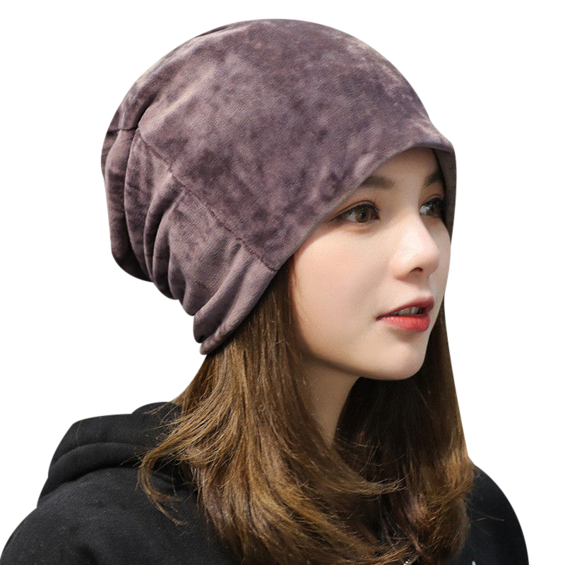 Fall Winter Velvet Hedging Caps For Women Bonnet Skullies Beanies Warm Knitted Chunky Hats Ladies Hats Casual Gorros Toca chsdcsi pleuche women turban caps twist dome caps head wrap europe style india hats womens beanies skullies for fall and spring
