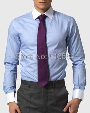 Custom made men 100%Cotton shirt Business casual men slim shirt white collar light blue shirt see through angel shirt