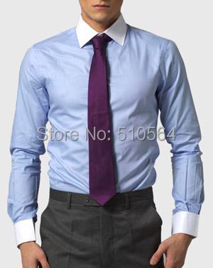 blauw overhemd witte kraag