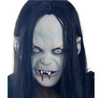 Nowy Vinyl Całą Twarz Maski Na Halloween Maska Horror Grudge długie Włosy Sadako Zombie Straszny Duch Maski Cosplay Rekwizyty Party materiałów eksploatacyjnych