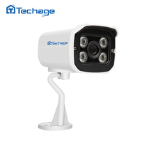 Techage HD Bullet 1080P 2MP CCTV IP Camera 4PCS ARRAY LED Outdoor IP66 Waterproof ONVIF P2P Night Vision Security Power Adapter