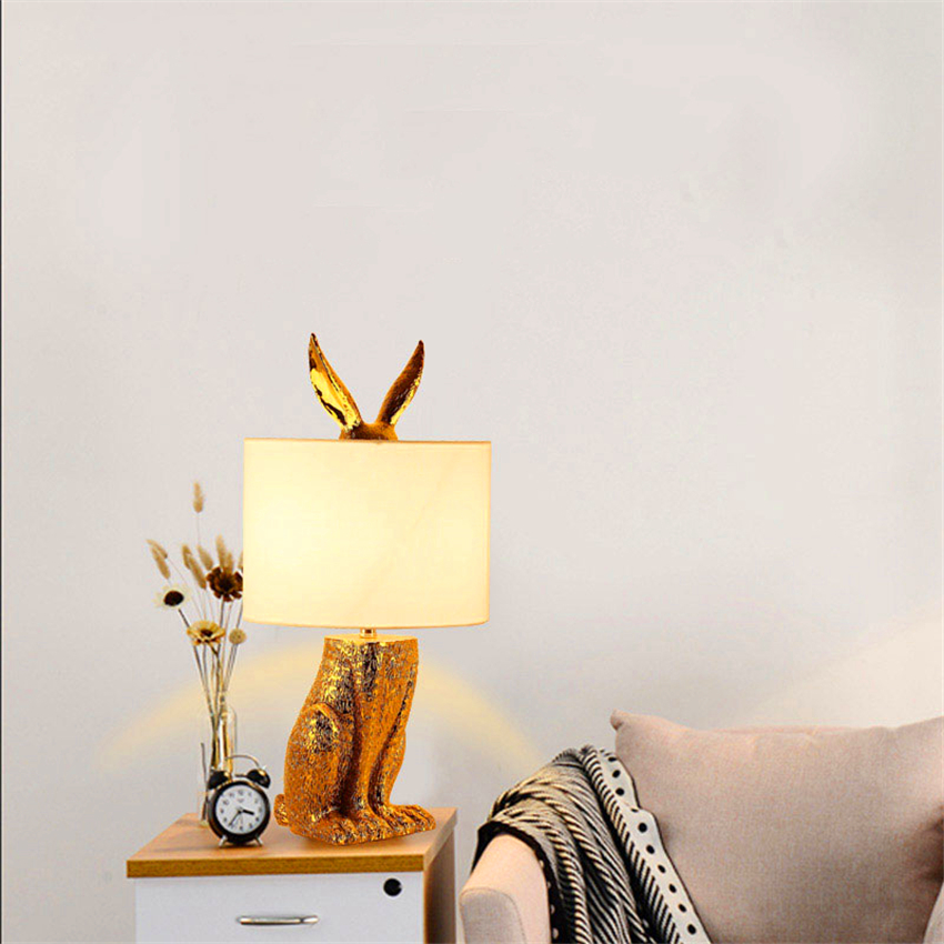 Nordic Loft Masked Rabbit Resin Table Light Modern Led Desk Light Bedroom Bedside Study Restaurant Decorative